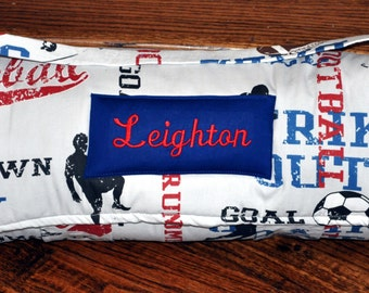 Nap Mat - Monogrammed All American Sports Nap Mat with a Red or Navy Minky Dot Blanket