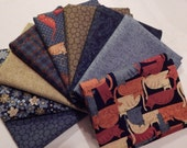NEW Crafty Cats Quilt Craft Fabric Bundle of 9 Fat Quarters - The Blues