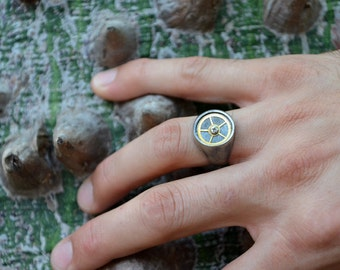 Timecapture-Steampunk silver signet ring-For later ring-Cool Mens Ring-Mechanic Ring-Cool Wedding Ring-Mens Steampunk Silver Gear Ring-MJ