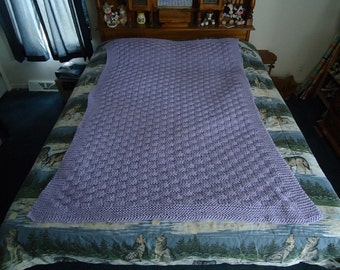 Lilac Hand Knitted Basketweave Afghan - Blanket - Throw - Home Decor - Free Shipping