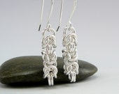 Sterling Silver, Chainmaille Earrings, Silver Chainmaille, Chain Earrings, 25th Anniversary, Anniversary Gift,
