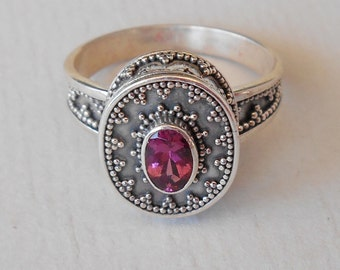 Unique  silver sterling  pink  Tourmaline  Ring   / silver granulation technique  / Bali handmade jewelry / silver 925 (#6190)