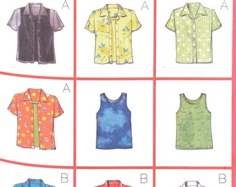 Butterick 5373 Sewing Pattern, Ladies Blouses and Vest Tops, 12-14-16