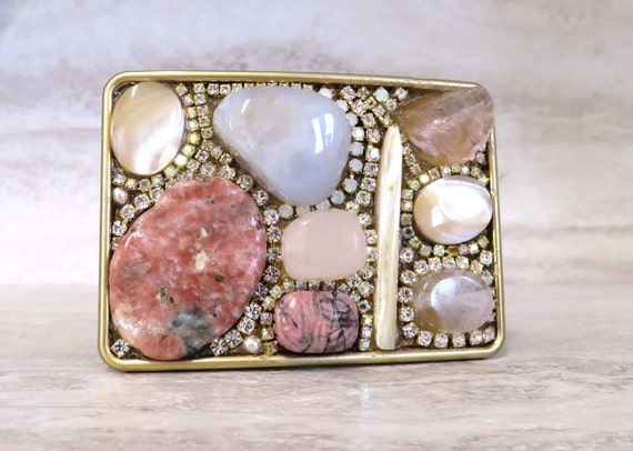 Pink Belt Buckle - Women's Buckle with Large Semi Precious Stones, Pearls & Girly Rhinestones Unique Holiday Gifts for Her by Sharona Nissan