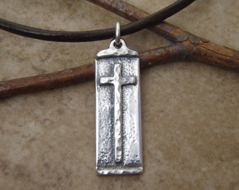 Boys cross necklace - Sterling silver cross on leather cord necklace - First Communion cross for boys- Photo NOT actual size