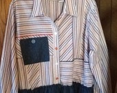Altered Couture, striped, woman's top, blouse, ruffle, embellished