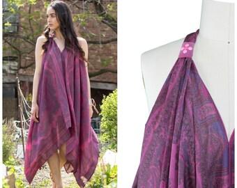 Handkerchief Dress / Boho Scarf Dress / Festival Boho Dress / Vneck Keyhole Back Midi Dress / Burgundy Scarf Print Dress / Printed Maxi