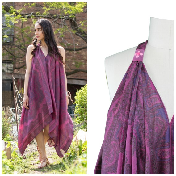 Handkerchief Dress / Boho Scarf Dress / Festival Boho Dress / Vneck Keyhole Back Midi Dress / Burgundy Scarf Print Dress / Printed Maxi
