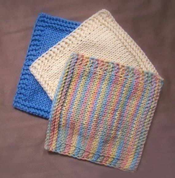 Baby Washcloths Knitting Patterns: KNITTING PATTERN, Knit Washcloth Pattern, Baby Washcloths