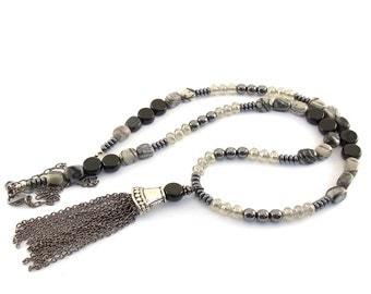Long Black Onyx Jasper and Gunmetal Necklace, Jasper Necklace -Gunmetal Necklace - Silver Necklace - Long Style Necklace - Black Onyx - N032