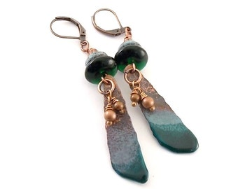 Rustic Blue/Turquoise Earrings - Enameled Earrings - Turquoise Earrings - Long Earrings - Copper Earrings - Antique Copper - Teal - AE127