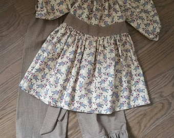 Sock Monkey Outfit, Pesant top, Ruffle Pants, Girls Outfit, Size 4