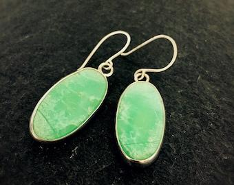 Chrysoprase & Sterling Silver Drop Earrings