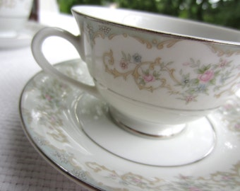 Vintage Garden Party Cup and Saucer Tudor Rose Royal M Yamaka Japan