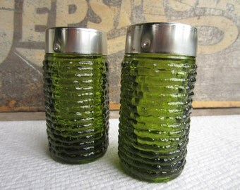 Vintage Avocado Green Salt and Pepper Shaker Soreno Ripple by Anchor Hocking