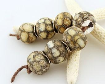 Lampwork Glass Bead Set SRA  Organic Rustic Ivory Gray 'Crocodile Tears'
