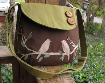Small Two color Tweeting Birds Purse /Tote /Handbag / Handmade Wood Button / 3 Large Open Pockets/ One Large zipper Pocket