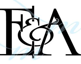 Intertwining Ampersand Monogram - E&A (instant download - JPG, PSD, PDF)