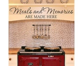 Meals And Memories Wall Decal- kitchen wall decals, kitchen quotes, meals and memories, kitchen decor, memories decals, meals and memory U23