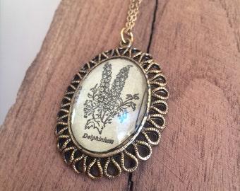 Delphinium Pendant Necklace