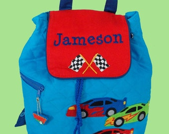 Personalized Stephen Joseph Backpack RACECAR Style With In Green and Blue-Monogramming Included