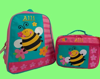 Child's Personalized Stephen Joseph GoGo BEE Themed Backpack and Lunchbox School Set-Monogramming Included In Price