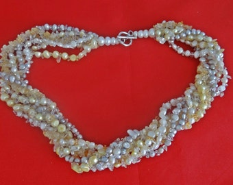 "20% off sale Gorgeous 7 strand 18"" necklace with yellow and gray pearls and semi-precious stones-fittings are marked 925"