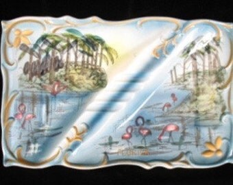 Florida Souvenir Ashtray with Flamingoes and Palm Trees
