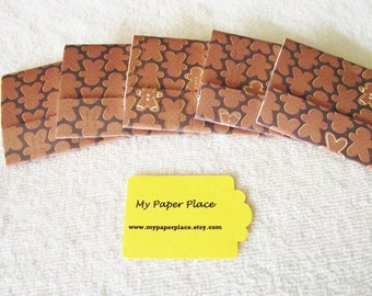 SALE -8 - Gingerbread Man  Matchbook Notepads  12 - 3 x 4 inch fold over sheets-READY To SHIP