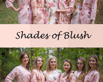 Shades of Blush Wedding Colors Bridesmaids Robes, Kimono Robes, Bridesmaids gift, getting ready robes, Bridal shower, Party Favors, Floral
