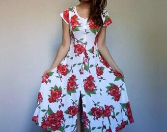 90s Rose Print Dress Vintage 90s Clothing Novelty Print Dress Floral Dress White Red Dress - Medium M