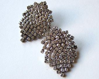 Large Rhinestone Earrings Vintage Dangling Silver Post Back Statement Earrings Fancy Holiday Jewelry