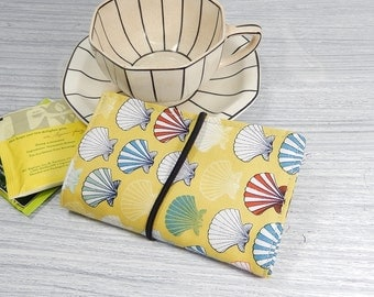 Tea wallet - Travel tea bag case - tea caddie - wallet for teabags - 4 pockets, ocean theme shell tea wallet, yellow