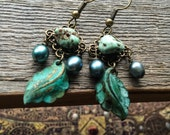 The Magic Forest Patina Leaf Earrings