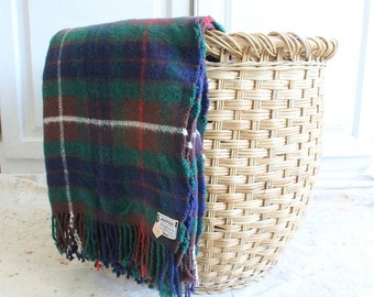 vintage wool plaid throw blanket fringed 60s made in Scotland