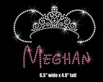 """6.5"""" Personalized bling Minnie Mouse Princess tiara iron on rhinestone transfer your color choice"""