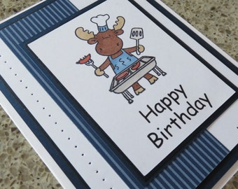 Handmade greeting card, Masculine, Happy Birthday Moose greeting card, bbq, blue