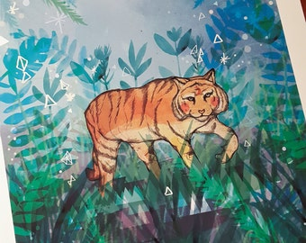 SALE: Tiger in the Night A3 Print with Ink Marks - Promo - Sale Art Print - Tiger Artwork - Gift for Animal Lovers - Tropical Safari Art