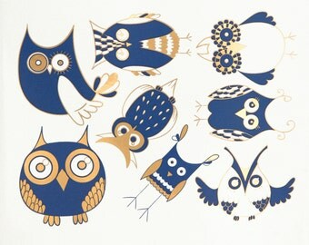 Cute Owls-  Decals for Ceramic, Glass and Enamel