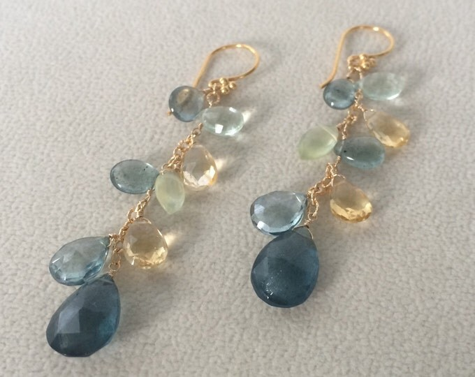 Autumn Inspired Green Semiprecious Gemstone Long Earrings in Gold Vermeil with Moss Aquamarine, Citrine, Fluorite, Prehnite, Mystic Quartz