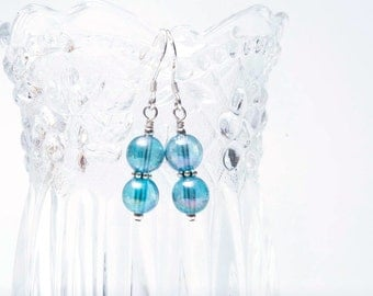Aqua Aura Beaded Earrings - Aqua Aura Quartz Earrings - Aqua Quartz Earrings - Healing Crystals - Sterling Silver Earrings -Aqua Aura Quartz
