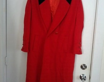 SALE red valentine wool coat women Leslie Fay size 10 winter coat overcoat double breasted velvet collar