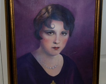 Vintage 1930's Oil Painting of Flapper Girl