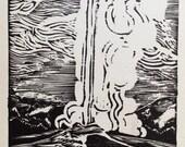 Woodblock Print, Old Faithful Geyser, Vintage Postcard