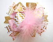 Pink and Gold Hair bows - Over the top Gold foil bow-Metallic gold foil bow