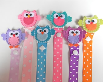 Owl Pacifier Holder - Felt Owl Holder - Owl Pacifier Clip - Pacifier Clip - Girl Pacifier Clip- Baby Shower Gift