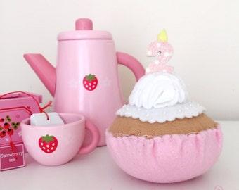 Felt Birthday Cupcake featuring celebration age in glitter candles - 2nd birthday handmade