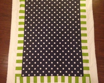 Baby blanket quilt Navy LIme and white minky dot