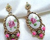 FREE SHIP  Elegant ART Signed Rose Guilloche Drop Earrings (4-4900)