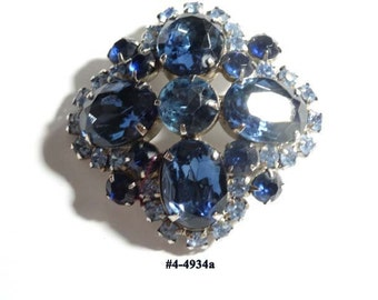 FREE SHIP Navy Blue Large Ovals Small Powder Blue Rhinestones Brooch (4-4934)